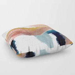 Exhale: a pretty, minimal, acrylic piece in pinks, blues, and gold Floor Pillow