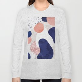 Terrazzo galaxy pink blue white Long Sleeve T-shirt