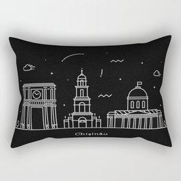 Chişinău Minimal Nightscape / Skyline Drawing Rectangular Pillow