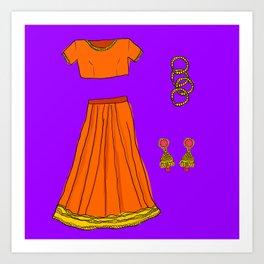 Her sari Art Print