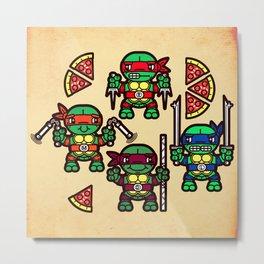 Teenage Mutant Ninja Turtles Pizza Party Metal Print