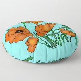 Blue Poppin Poppys Floor Pillow