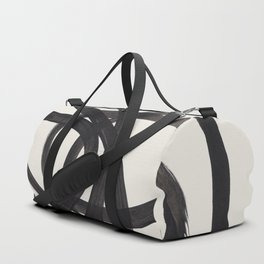 Mid Century Modern Minimalist Abstract Art Brush Strokes Black & White Ink Art Spiral Circles Duffle Bag