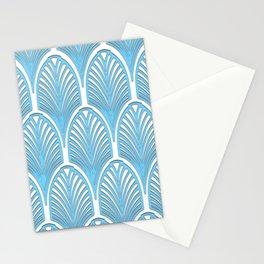Art deco,deco,blue,white,elegant,chic,fan pattern, vintage,art nouveau,nelle epoque,victorian,beauti Stationery Cards