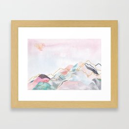 Abstract painted landscape of mountains Framed Art Print