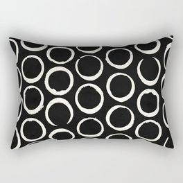 Polka Dots Circles Tribal Cream on Black Rectangular Pillow