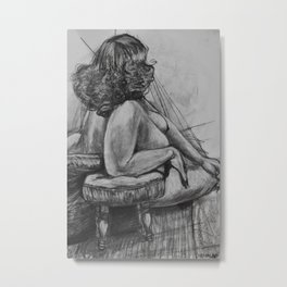 Curly Haired Woman Study in Charcoal Metal Print