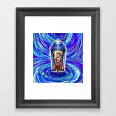11th Doctor with Blue Phone box in time vortex Framed Art Print
