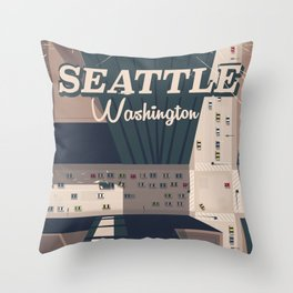 Seattle, Washington state Travel poster Throw Pillow