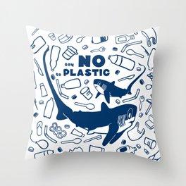 Say No to Plastic- Alopias Throw Pillow