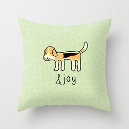 Cute Beagle Dog &joy Doodle Throw Pillow