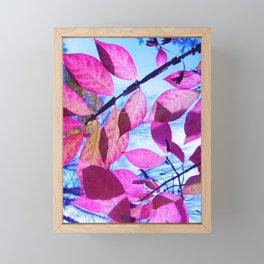 Pink Leaves Framed Mini Art Print