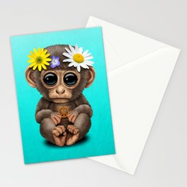 Cute Baby Monkey Hippie Stationery Cards