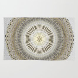Silver Grey Paper with Gold Mandala Rug