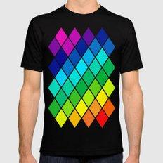 Tetrahedral Rainbow MEDIUM Black Mens Fitted Tee