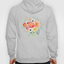 Watercolor bouquets with pink flowers Hoody