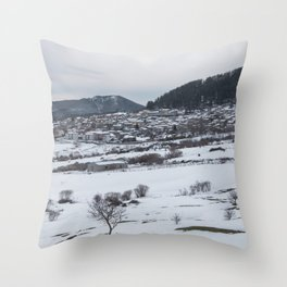 Snowy landscape from Sicily Throw Pillow