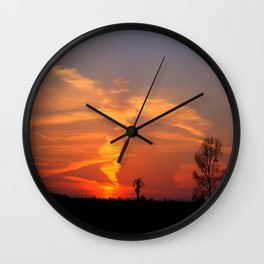 Sunset Fire Wall Clock