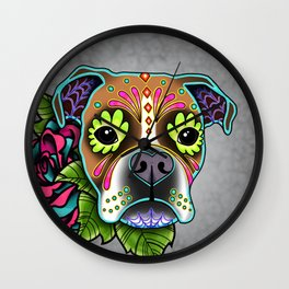 Boxer in White Fawn - Day of the Dead Sugar Skull Dog Wall Clock