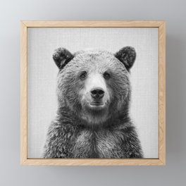 Grizzly Bear - Black & White Framed Mini Art Print