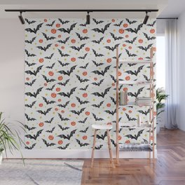 Halloween Pumpkins And Bats Wall Mural