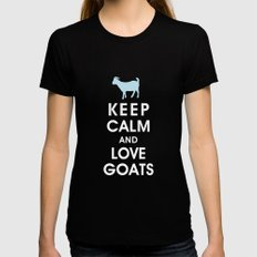 Keep Calm and Love Goats Womens Fitted Tee MEDIUM Black