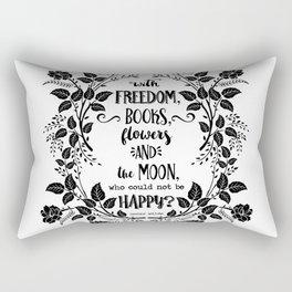 Freedom & Books & Flowers & Moon Rectangular Pillow