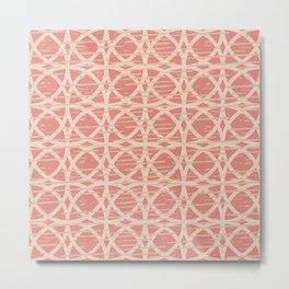 Geometric Circles Lattice Pattern Muted Coral Beige Metal Print