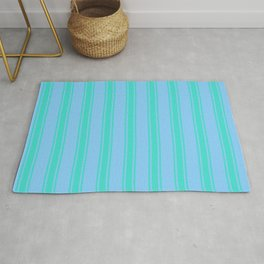 Light Sky Blue and Turquoise Colored Lines/Stripes Pattern Rug