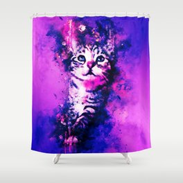 pianca baby cat kitten splatter watercolor purple pink Shower Curtain