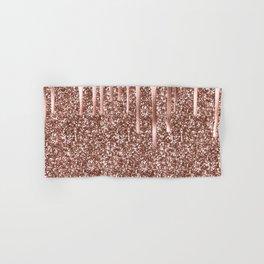Rose Gold Drip & Sparkle Hand & Bath Towel