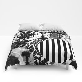 Black And White Choas - Mutli Patterned Multi Textured Abstract Comforters