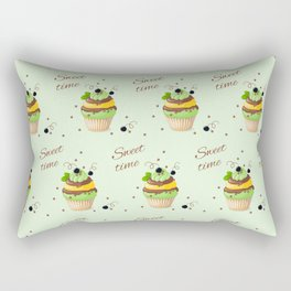cupcake with black currant and mint Rectangular Pillow