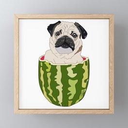 Pug Watermelon Framed Mini Art Print