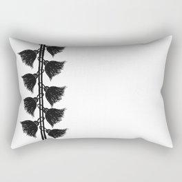 Tassels On The Left - Black and White - Serie Boho Rectangular Pillow