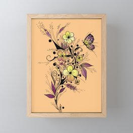Flower Tattoo in Yellow and Purple Framed Mini Art Print