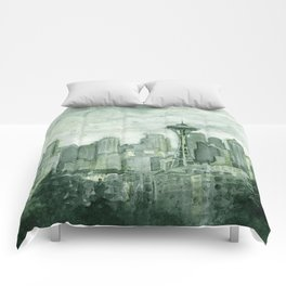 Seattle Skyline Watercolor Space Needle Emerald City 12th Man Art Comforters