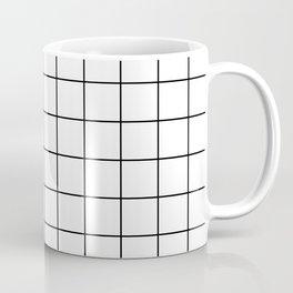 Grid Pattern Stripes Lines Black and White Minimalist Geometric Stripe Line Coffee Mug