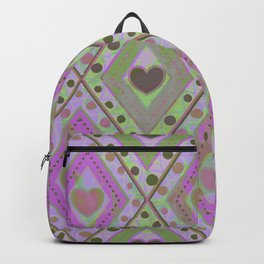 Diamonds and hearts seamless pattern Backpack