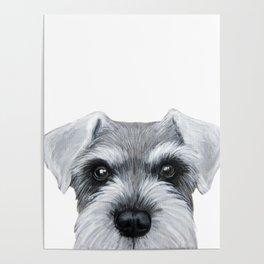 Schnauzer Grey&white, Dog illustration original painting print Poster