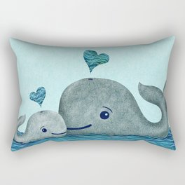 Whale Mom and Baby with Hearts in Gray and Turquoise Rectangular Pillow