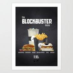 Blockbuster menu Art Print