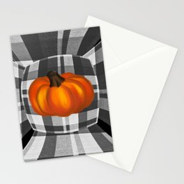 Fall Pumpkin On Gray And White Plaid Bow Design Stationery Cards