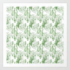 Jamaican Botanicals - Green & White Art Print