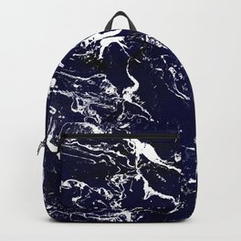Modern Navy blue watercolor marble pattern Backpack