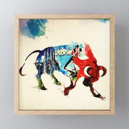 Spain Bull Vintage Travel Love Watercolor Framed Mini Art Print