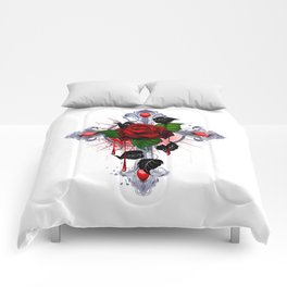 Cross with Red Rose Comforters