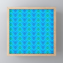 Pattern of intersecting azure hearts and sea water stripes. Framed Mini Art Print