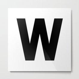 Letter W (Black & White) Metal Print