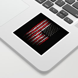 Red & white Grunge American flag Sticker